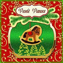 Papiernictvo - Golden vianočná pohľadnica s ozdobou (húpací koník) - 5703278_