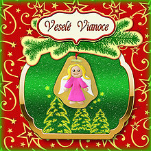 Papiernictvo - Golden vianočná pohľadnica s ozdobou (anjelik) - 5703285_
