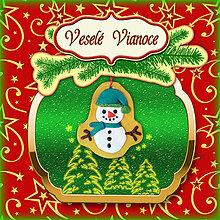 Papiernictvo - Golden vianočná pohľadnica s ozdobou (snehuliačik) - 5703288_