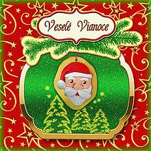 Papiernictvo - Golden vianočná pohľadnica s ozdobou (Santa) - 5703289_