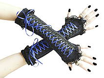 Čierno modré gotické korzetové rukavice 0260A