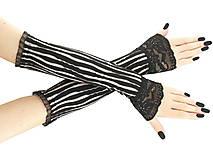 Dámské čierno bielé rukavice s čipkou 03R