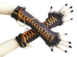 Rukavice - Čierno oranžové gotické korzetové rukavice 0260A - 5706867_