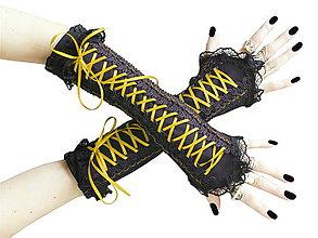 Rukavice - Čierno žlté gotické korzetové rukavice 0260A - 5706998_