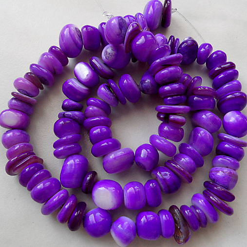 Perleť.zlomky-fialová-návlek cca40cm
