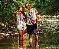 Tričká - Dámske a pánske tričká párové s motívom delfínov, batikované a maľované PONORENÍ - 5704667_