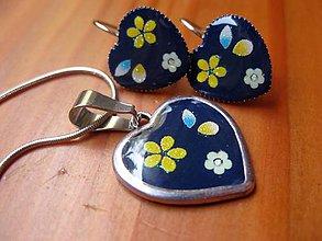 Sady šperkov - Kvetinkové srdiečka sada č.1449 - 5706574_