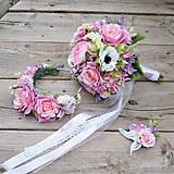 Romantícká svadobná sada- kytica, pierko + parta