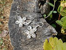 Náušnice - flowers with cristall - 5708067_