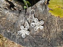 Náušnice - flowers with cristall - 5708068_