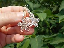 Náušnice - flowers with cristall - 5708069_