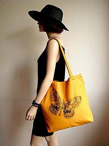 Nákupné tašky - Oranžová taška s motýľom - 5710360_