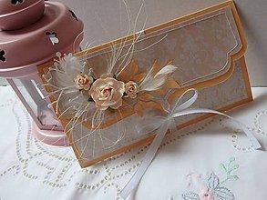Papiernictvo - Svadobná obálka s blahoželaním broskyňová (Oranžová) - 5712458_