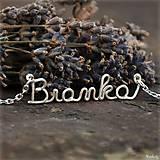 Náhrdelníky - Náhrdelník s menom z postriebreného drôtu: 6-8 písmen - 5712511_