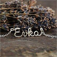 Náhrdelníky - Náhrdelník s menom z postriebreného drôtu - do 5 písmen (Evka) - 5712150_