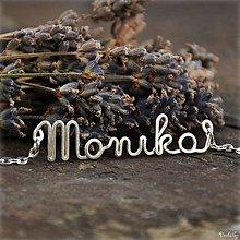 Náhrdelníky - Náhrdelník s menom z postriebreného drôtu: 6-8 písmen (Monika) - 5712245_