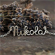 Náhrdelníky - Náhrdelník s menom z postriebreného drôtu: 6-8 písmen (Nikola) - 5712462_