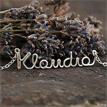 Náhrdelníky - Náhrdelník s menom z postriebreného drôtu: 6-8 písmen (Klaudia) - 5712486_