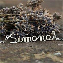 Náhrdelníky - Náhrdelník s menom z postriebreného drôtu: 6-8 písmen (Simona) - 5712502_
