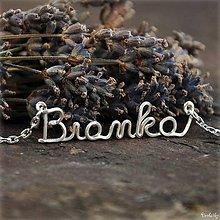 Náhrdelníky - Náhrdelník s menom z postriebreného drôtu: 6-8 písmen (Bianka) - 5712511_