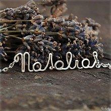 Náhrdelníky - Náhrdelník s menom z postriebreného drôtu: 6-8 písmen (Natalia) - 5712512_