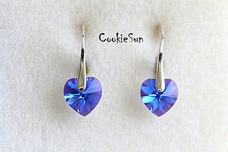 Náušnice - Náušnice Swarovski Heart Sapphire AB - 5712920_
