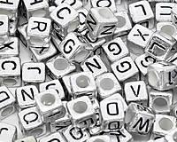 Korálky - Korálky abeceda strieborné kocky (balíček 1000ks) - 5712032_