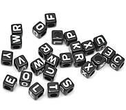 Korálky - Korálky abeceda čierne kocky (balíček 500ks) - 5712039_