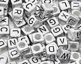 Korálky - Korálky abeceda strieborné kocky (balíček 500ks) - 5712024_