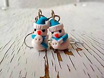 Náušnice - mini snehuliačik v tyrkysovom - 5713892_