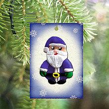 Dekorácie - Vianočná karta (vločková - Santa) - 5712719_