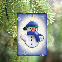 Dekorácie - Vianočná karta (vločková - snehuliak) - 5712723_