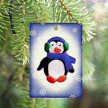 Dekorácie - Vianočná karta (vločková - tučniak) - 5712729_