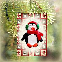 Dekorácie - Vianočná karta (obrázková - tučniak) - 5713713_