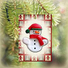 Dekorácie - Vianočná karta (obrázková - snehuliak) - 5713721_