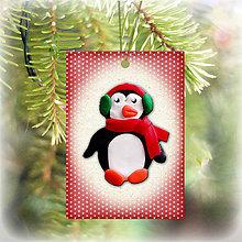 Dekorácie - Vianočná karta (bodkovaná - tučniak) - 5713934_