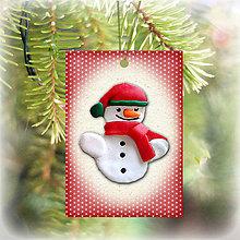 Dekorácie - Vianočná karta (bodkovaná - snehuliak) - 5713940_