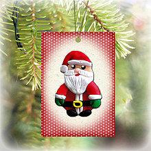 Dekorácie - Vianočná karta (bodkovaná - Santa) - 5713944_