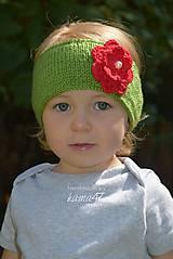 Detské čiapky - Pletená čelenka ...