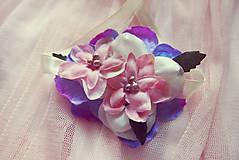 Náramky - Romantický ružovo-fialový náramok pre družičky - 5716828_
