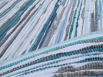 koberec tkaný cca 80 x 150 tyrkysový melír