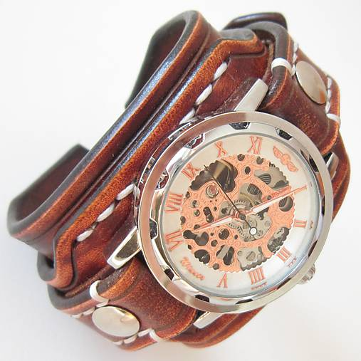c37c95577 Steampunk kožené hodinky hnedé / leon - SAShE.sk - Handmade Náramky