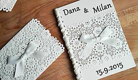 Papiernictvo - svadobná kniha kvetinová čipková Margaret - 5715277_