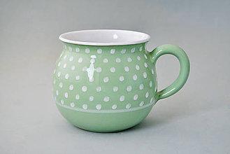 Nádoby - Buclák 10 cm puntík - světle zelený cca 0,5l - 5715618_