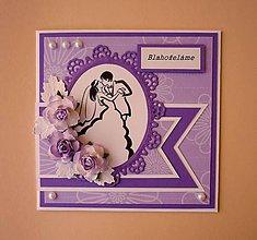 Papiernictvo - Fialové svadobné blahoželanie - 5717181_