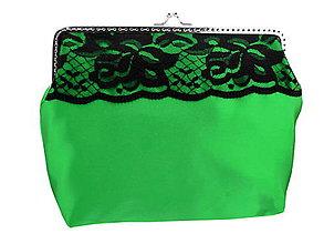 Kabelky - Kabelka zelená s čipkou a retiazkou na rameno 08253A - 5721809_