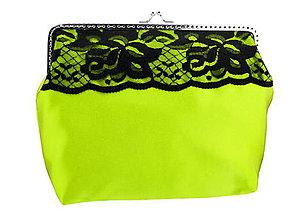 Kabelky - Kabelka žlto zelená s čipkou a retiazkou na rameno 08253A - 5721844_