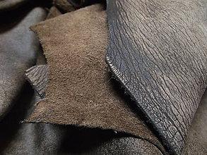 Suroviny - Koža - teľacia - béžovo-čierny melír 20*30cm - 5717262_