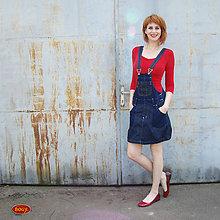 Tehotenské oblečenie - džínová sukně s laclem i pro těhotné (2 odstíny) - 36,38,40 - 5719288_