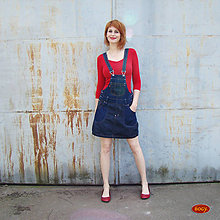 Tehotenské/Na dojčenie - džínová sukně s laclem i pro těhotné (2 odstíny) - 40 - 5719298_